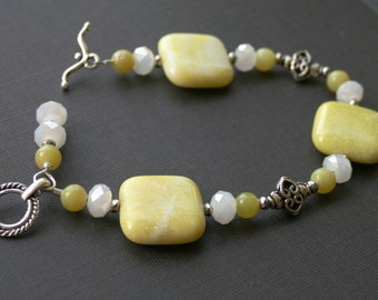 Yellow agate and jade crystal bracelet