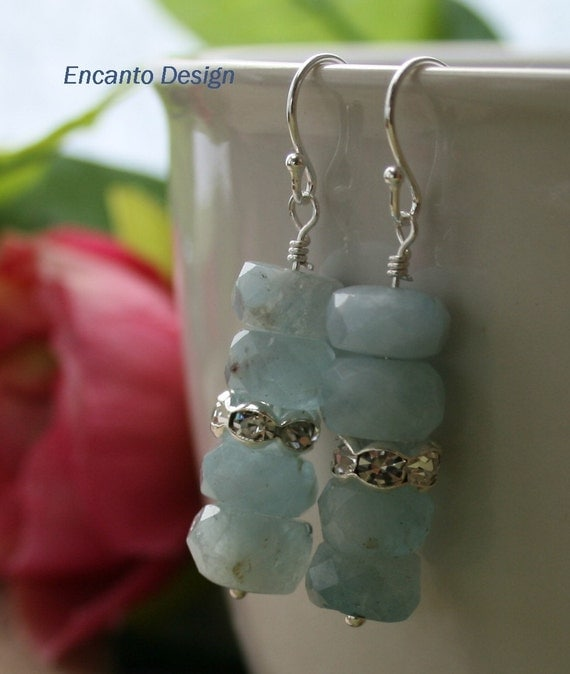 Aquamarine Earrings, sterling silver earrings