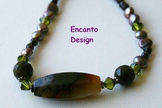 New Jade necklace , large labradorite bead, multi stone necklace