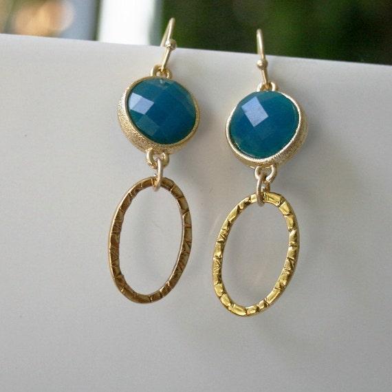 Sale Bezel set earrings,  turquoise color earrings, gold hoops gold jewelry
