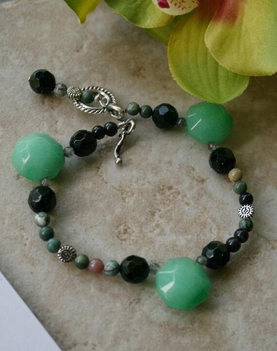 Multi green bracelet , jade bracelet , multi stone bracelet