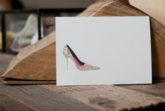 Shoe Note Cards with Vintage Dictionary Envelopes