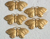 SALE 5 Butterfly raw brass stamping , brass butterflies moths , natural brass butterfly pendant jewelry parts , unplated brass
