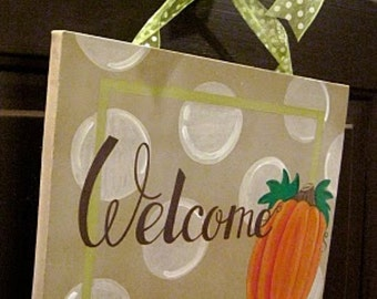 Pumpkin Fall Thanksgiving Halloween Canvas Sign