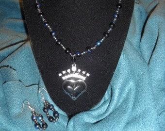 Queen's Heart Necklace & Earrings