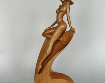 Nude woman wood sculpture NYMPH