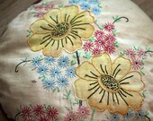 Hand Sewn and Embroidered Pillow with a Floral Design