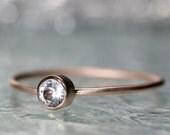 White Sapphire 14K Rose Gold Ring, Gemstone Ring, Stacking Ring - Made To Order