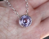 Pink Purple Amethyst Sterling SIlver Necklace, Pendant, Birthstone, Halo Necklace, Portuguese Cut - Made To Order