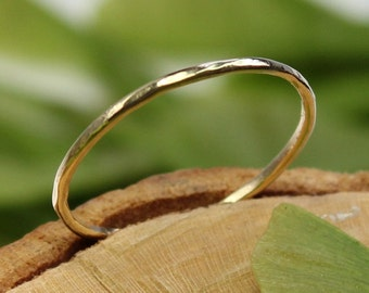 14K Yellow Gold Stacking Ring, Wedding Band, Gold Band - Made To Order