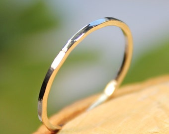 14K White Gold Stacking Ring, Wedding Band, Gold Band - Made To Order