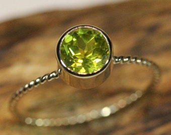 Peridot 14K Gold Ring, Gemstone Ring, Stacking Ring - Made To Order