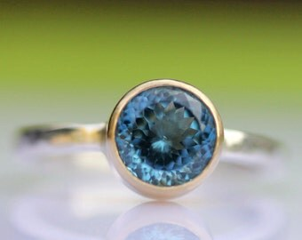 London Blue Topaz Sterling Silver and 14K Gold RIng, Gemstone RIng, Stacking Ring, Portuguese Cut - Made To Order