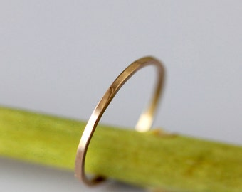 14K Gold Simple Stacking Ring, Wedding Band, Gold Band - Made To Order