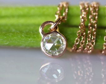 Rose Cut Moissanite 14K Rose Gold Necklace, Pendant (Limited Edition) - Made to Order