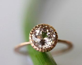 Morganite 14K Gold Engagement Ring, Gemstone Ring, Stacking RIng, Milgrain Inspired, Eco Friendly - Made To Order