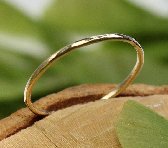 14K Yellow Gold Stacking Ring, Wedding Band, Gold Band - Made To Order