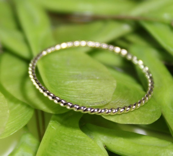 14K Gold Simple Twist Stacking Ring, Gold Band, Wedding Band - Made To Order