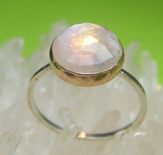 Rainbow  Moonstone Sterling Silver and 14K Gold Ring, Gemstone Ring, Stacking Ring - Made To Order