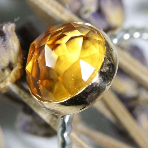 Rose Cut Citrine Sterling Silver and 14K Gold Ring, Gemstone Ring, Stacking Ring - Made To Order