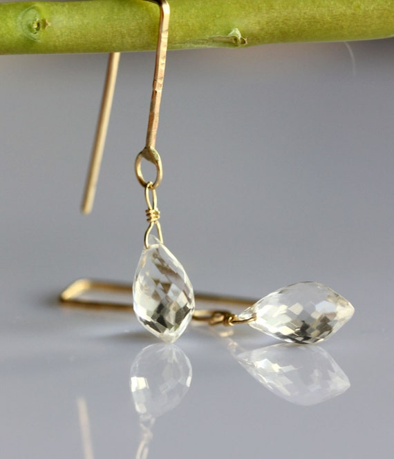 Crystal Quartz In 14K Yellow Gold Chandelier - Ready To Ship