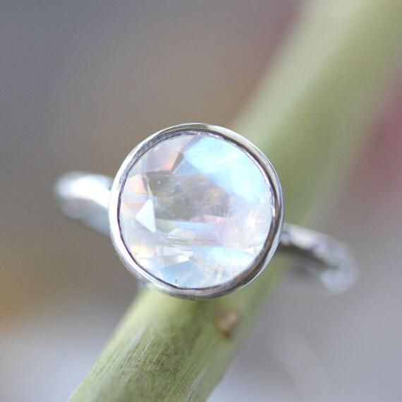 Rainbow Moonstone Sterling Silver Ring, Gemstone Ring, No Nickel / Nickel Free - Made to Order