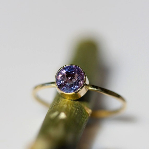 Violet Sapphire In 14K Yellow Gold Ring - Ready to Ship