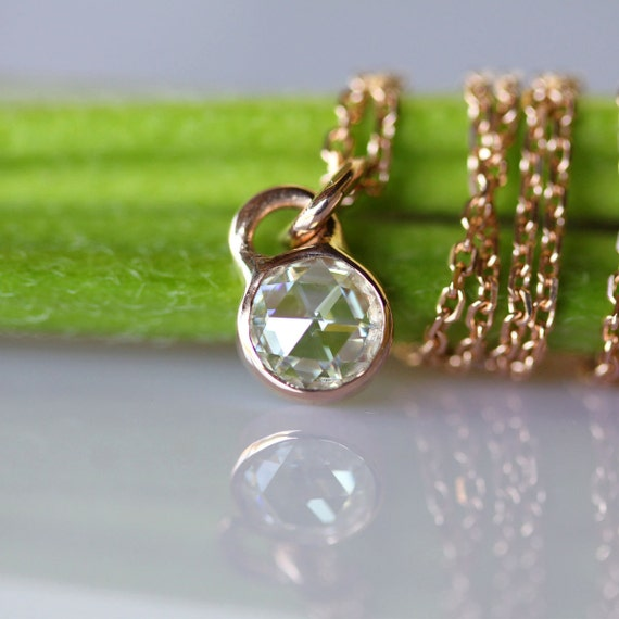 Rose Cut Moissanite 14K Yellow or White Gold Necklace, Pendant - Made to Order