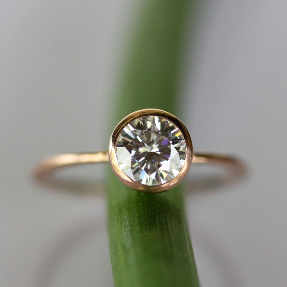6mm Moissanite 14K Gold Engagement Ring, Stacking Ring, Eco Friendly, Forever Classic Moissanite, Round Moissanite, Recycled - Made To Order