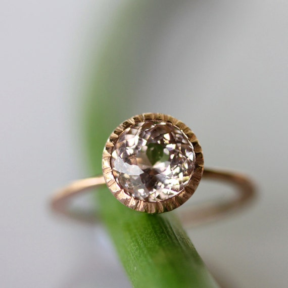 Morganite Milgrain Engagement RIng In 14K Gold Ring (US size 7) - Ready To Ship