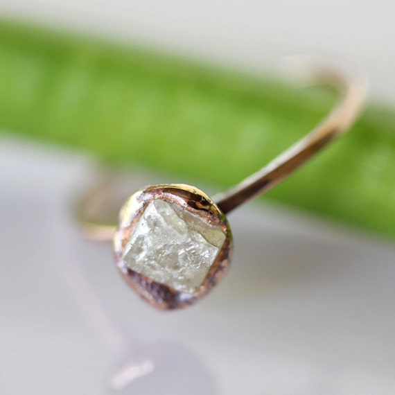 Raw Diamond In 14K Recycled Gold Nugget Ring - Ready To Ship