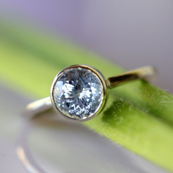 Portuguese Sky Blue Sapphire In 14K Gold Engagement Ring - Ready To Ship