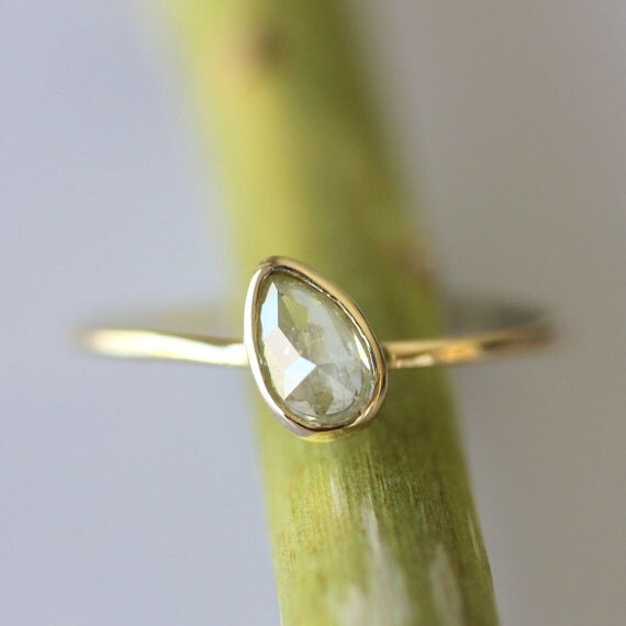Rose Cut Translucent Pale Yellow Diamond In 14K Gold Ring - Ready To Ship