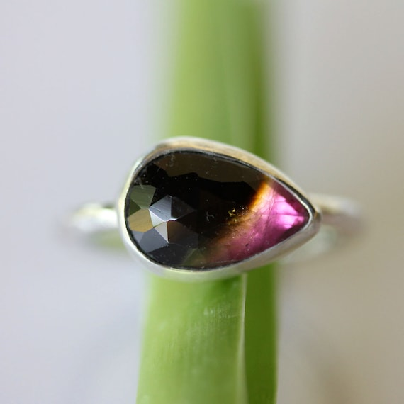 Rose Cut Pear Shape Watermelon Tourmaline In Argentium Silver Ring - Ready To Ship