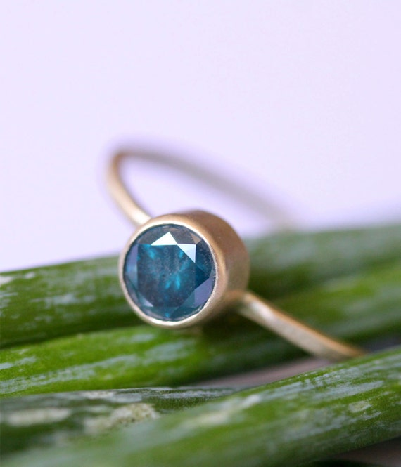 Blue Diamond In 14K Gold Ring - Ready To Ship