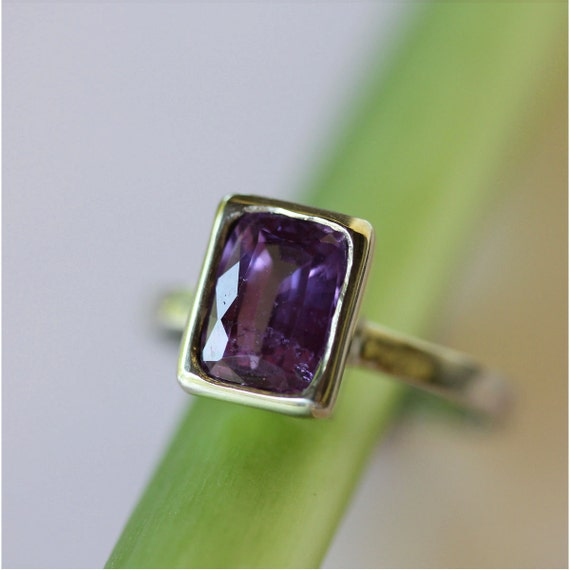 Violet Sapphire In 14K White Gold Ring - Ready To Ship