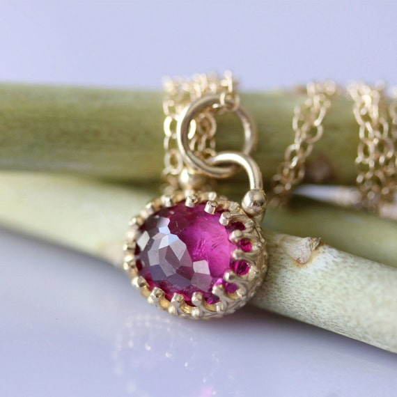 Rose Cut Pink Tourmaline Necklace - Ready To Ship