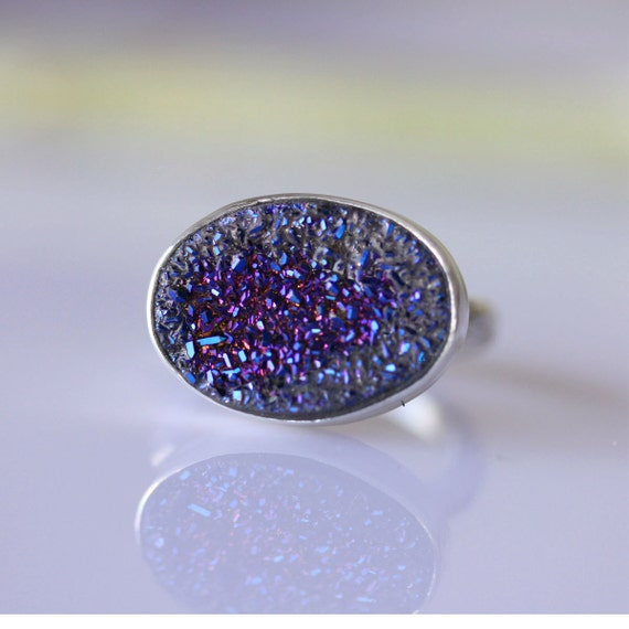 Purple Drusy Cocktail Ring (US SIze 6) - Ready To Ship