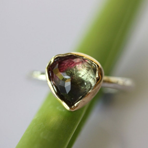Rose Cut Pear Shape Watermelon Tourmaline Ring - Ready To Ship