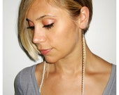 Gold Grizzly Feather and Chain Earring - Single