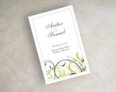 Bi-fold wedding programs, ceremony programs, leaflet, mass booklet, swirly vines in eggplant purple and sage shown, other designs available
