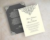 Vintage filigree wedding invitation, formal, victorian wedding invitation, victorian wedding stationery, charcoal gray, ivory, Aubrey
