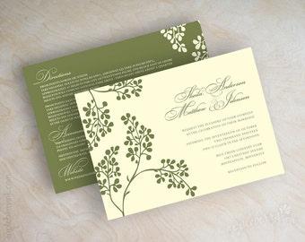 Olive branch wedding invitation, olive branch invite, olive wedding stationery, wedding invitations, olive green invites on ivory, Olivia