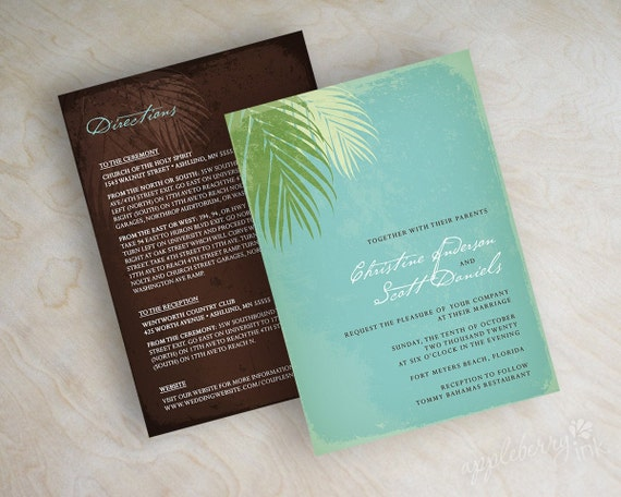 Destination wedding invitation, palm leaf invite, tropical, rustic wedding invitation, teal blue, sage green, celery green and brown, Ariel