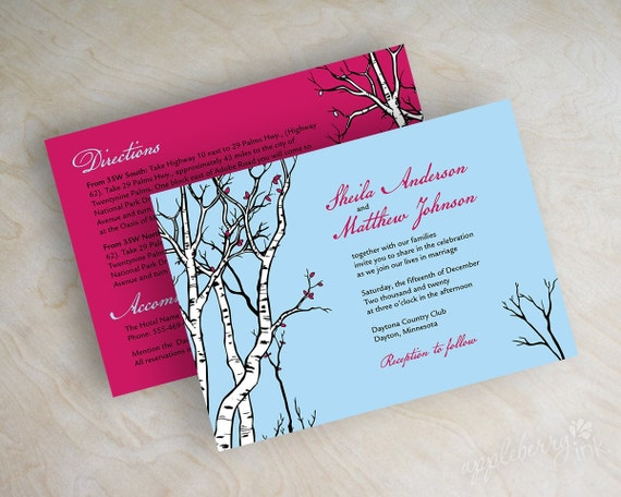 Wedding invitations, birch tree wedding stationery, fall invitations, light baby blue, fuchsia, black and white, free shipping, Anoka