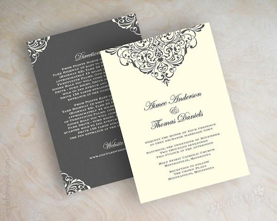 vintage filigree wedding invitation formal victorian wedding, Wedding invitations