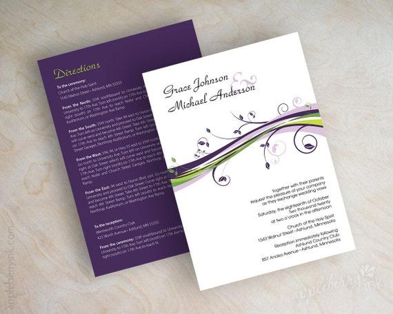 Wedding invitation, contemporary swirly floral vine wedding invitations, stationery, eggplant purple, lavender, lime green, black, Patricia