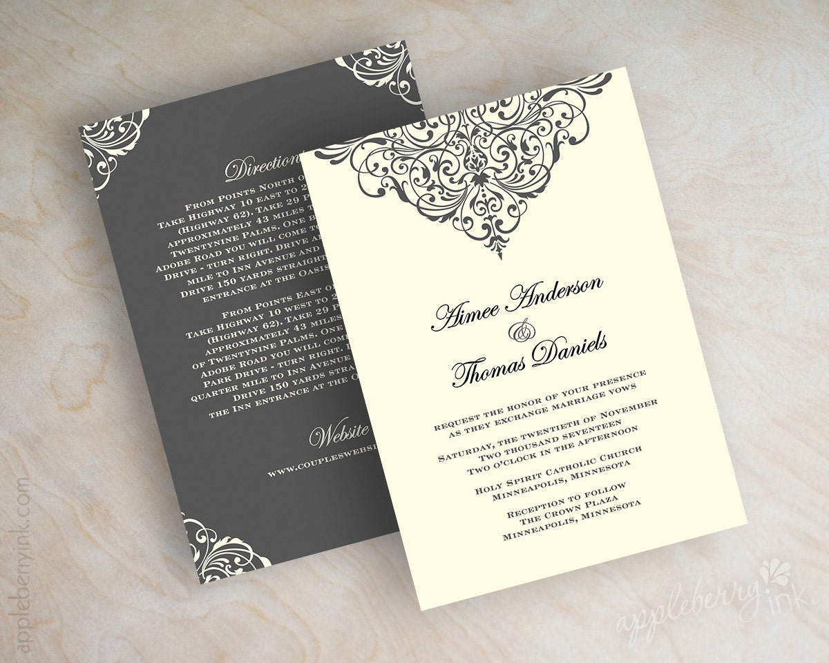 Vintage Filigree Wedding Invitation Formal Victorian Wedding