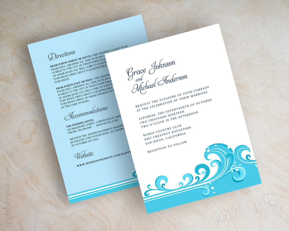 Destination Wedding Invitations Beach Wedding Invitations