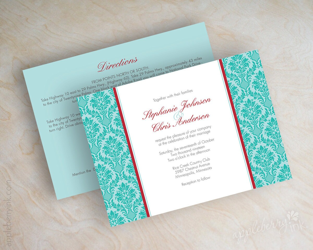 Red And Aqua Wedding Invitations – guitarreviews.co